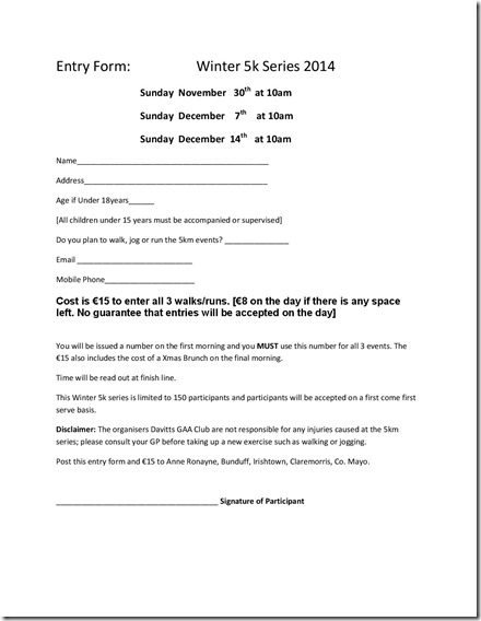 Entry form for 5k Winter Series